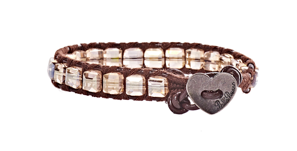 Sophia - Clear Square Crystal with Dark Brown Leather - Single Wrap Bracelet - BellaRyann
