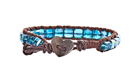 Darlene - Blue Square Crystal with Dark Brown Leather - Single Wrap Bracelet - BellaRyann