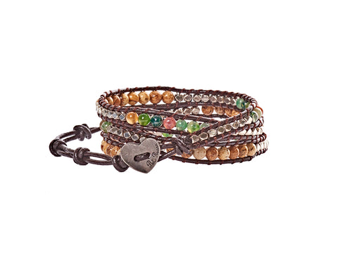 Donna - Jasper, Multi & Silver Beads with Dark Brown Leather - Triple Wrap Bracelet - BellaRyann