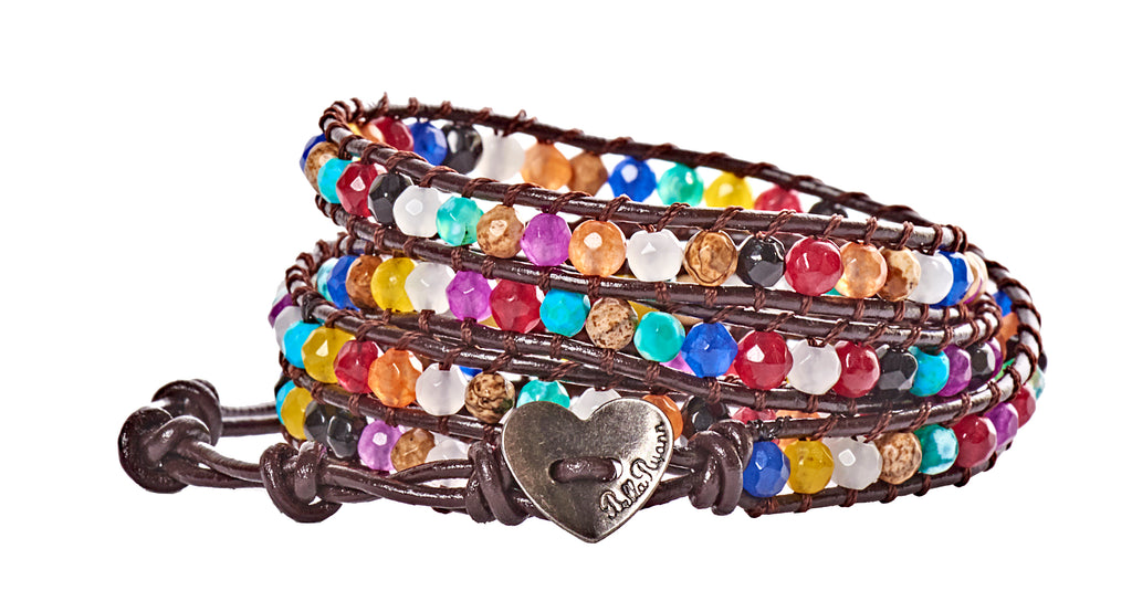 Brittany - Multi Colored Beads with Dark Brown Leather - 4 Wrap Bracelet - BellaRyann
