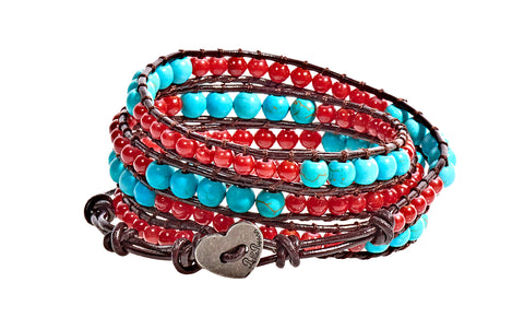 Kate - Turquoise & Red Beads with Dark Brown Leather - 4 Wrap Bracelet - BellaRyann