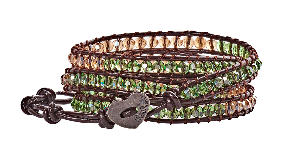 Nicole - Tan & Green Crystal Beads with Dark Brown Leather - 4 Wrap Bracelet