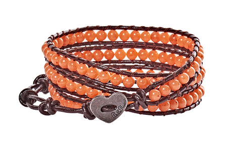 Julie - Orange Beads with Dark Brown Leather - Triple Wrap Bracelet - BellaRyann