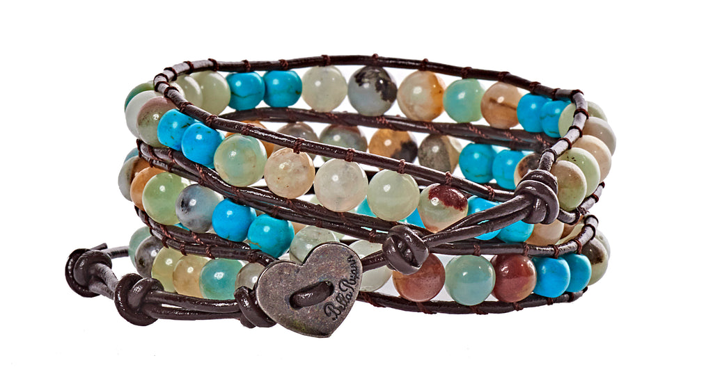Holly - Amazonite & Turquoise Beads with Dark Brown Leather - Triple Wrap Bracelet - BellaRyann