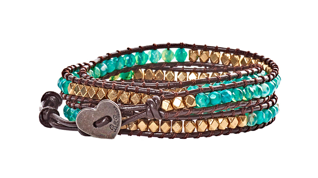 Deena - Gold Metal & Green Multi Colored Beads with Dark Brown Leather - 4 Wrap Bracelet - BellaRyann