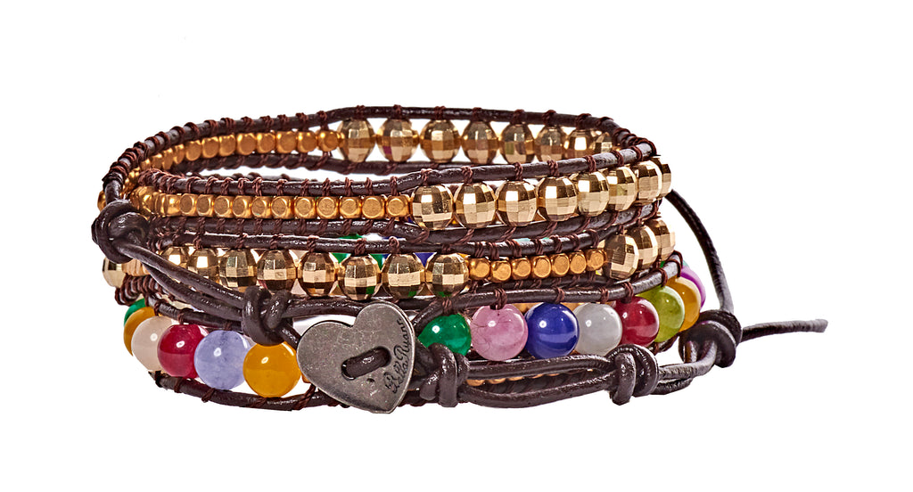 Lilli - Gold Metal & Multi Colored Beads with Dark Brown Leather - 4 Wrap Bracelet