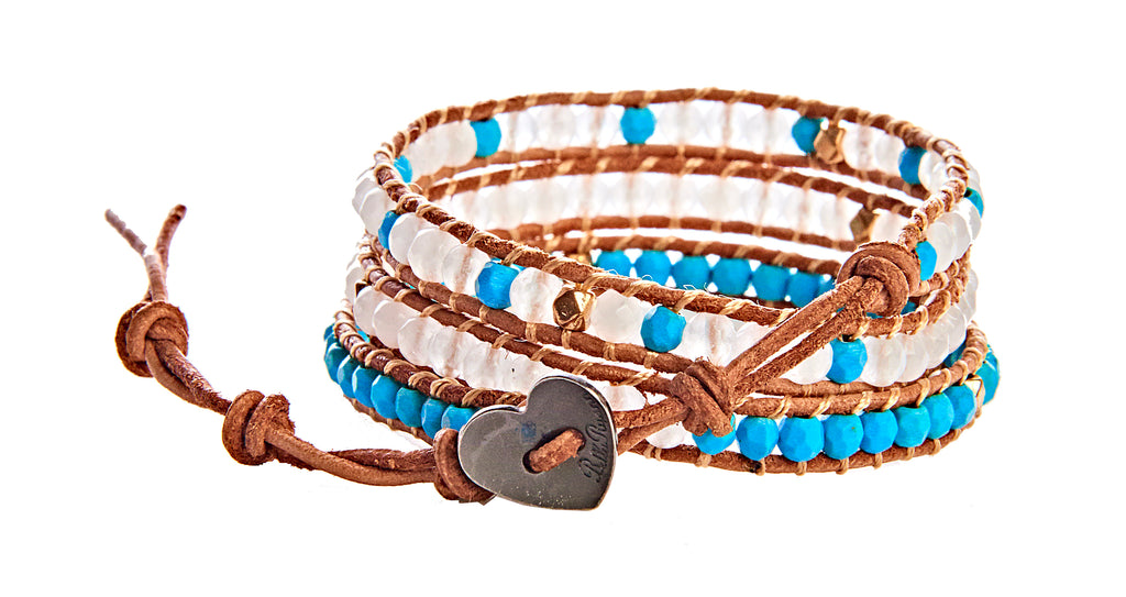Anna - Faceted Howlite Turquoise, Crystal & Gold Metal Beads with Tan Leather - Triple Wrap Bracelet - BellaRyann