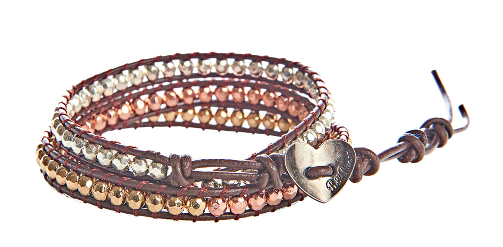 Louise - Gold, Silver, & Copper Metal Beads with Brown Leather - Triple Wrap Bracelet