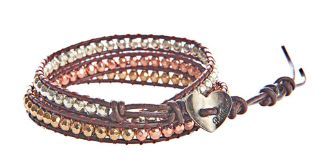 Louise - Gold, Silver, & Copper Metal Beads with Brown Leather - Triple Wrap Bracelet - BellaRyann