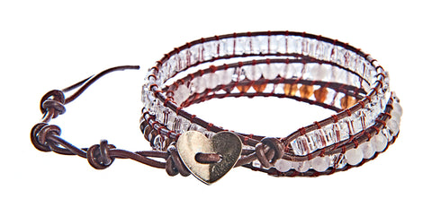 Cassie - Clear Crystal and Opaque Stone Beads with Brown Leather -  Triple Wrap Bracelet - BellaRyann