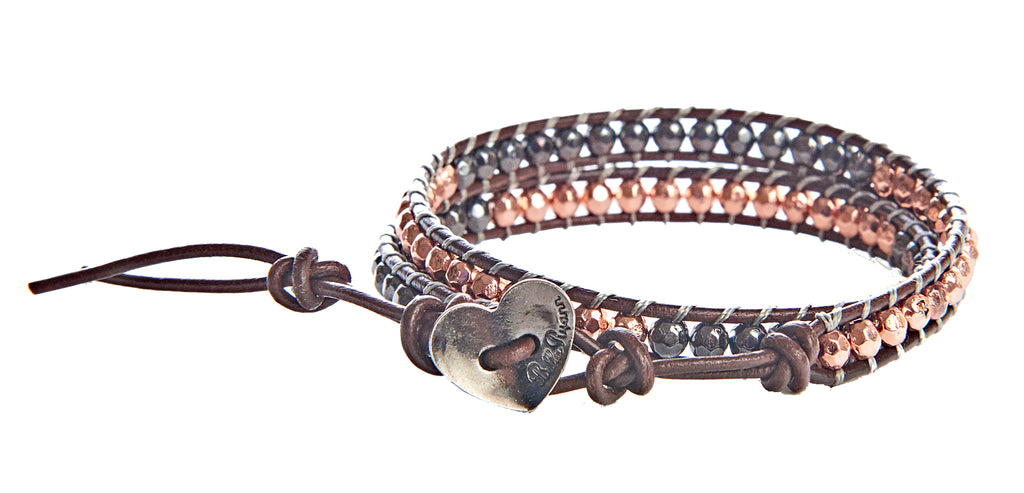 Victoria - Copper & Gunmetal Beads with Dark Brown Leather - Double Wrap Bracelet - BellaRyann