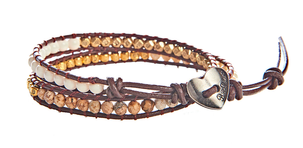 Melissa - Moonstone and Gold Metal Beads with Brown Leather - Double Wrap Bracelet - BellaRyann