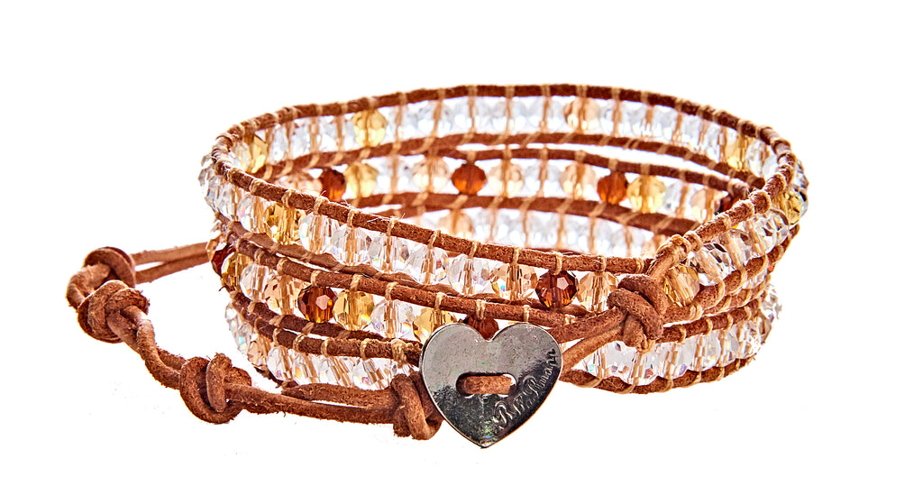 Zelda - Crystal and Brown Citrine with Tan Leather - Triple Wrap Bracelet