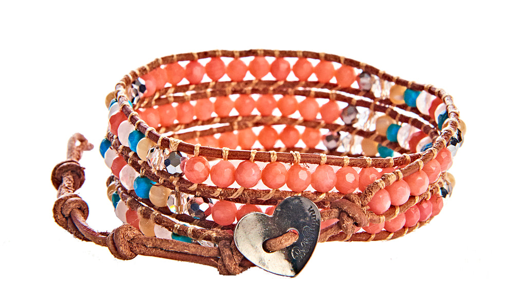 Michelle - Coral Bead, Crystal & Howlite Turquoise with Tan Leather - Triple Wrap Bracelet - BellaRyann