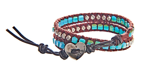 Stacy - Square Aquamarine Beads With Silver Embossed Studs Dark Brown Leather - Double Wrap Bracelet