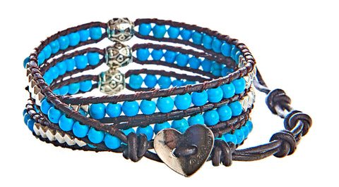 Kelly - Howlite Turquoise, Silver Beads, And Silver Spacers with Brown Leather - Triple Wrap Bracelet - BellaRyann