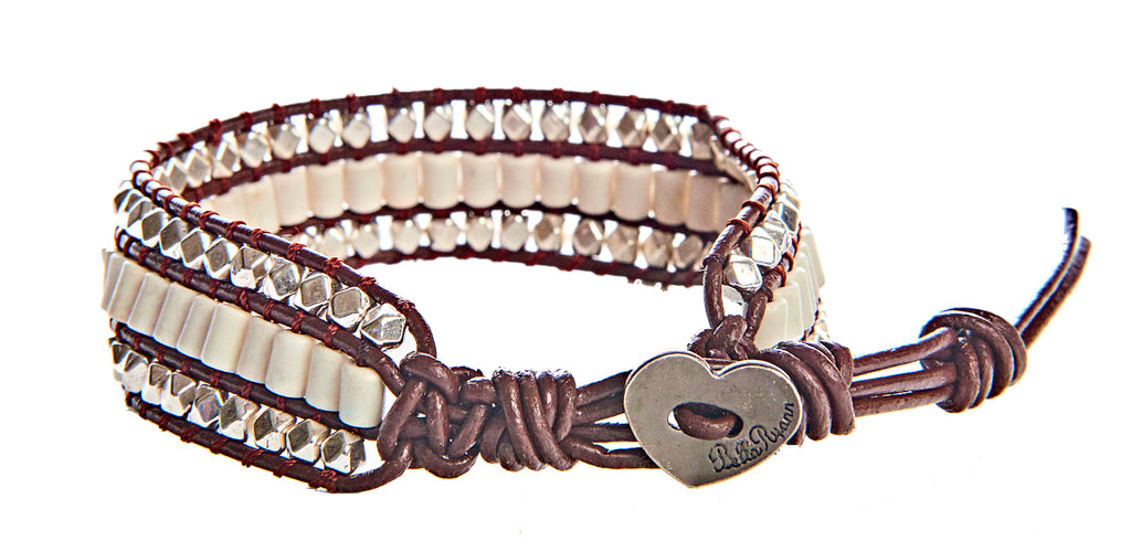 Randa - White & Silver Beads with Brown Leather - Single Wrap Bracelet