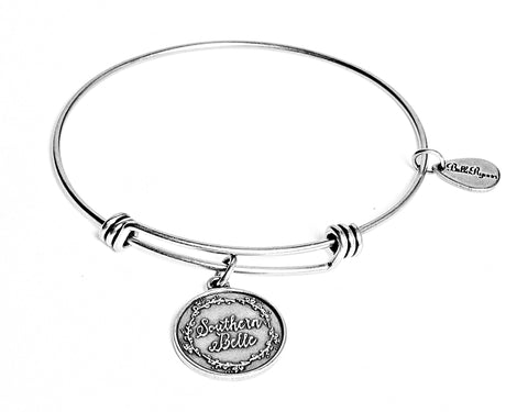Southern Belle Expandable Bangle Charm Bracelet in Silver