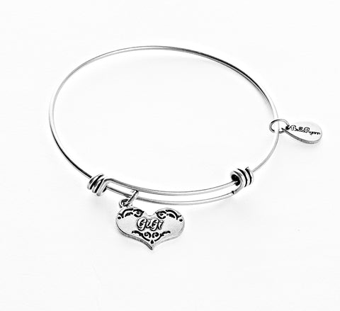 GiGi Expandable Bangle Charm Bracelet in Silver - BellaRyann