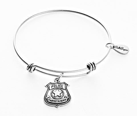 Police Badge Expandable Bangle Charm Bracelet in Silver