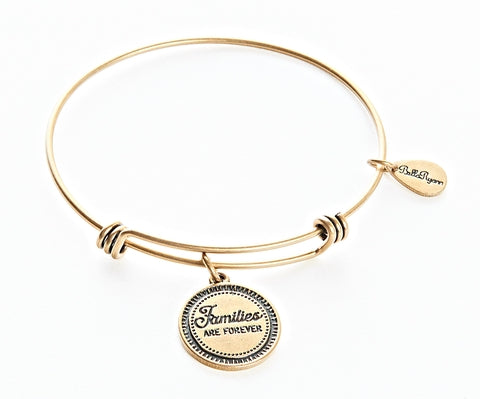 Families Are Forever Expandable Bangle Charm Bracelet in Gold - BellaRyann