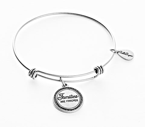 Families Are Forever Expandable Bangle Charm Bracelet in Silver - BellaRyann
