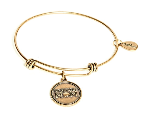 Baseball Mom Expandable Bangle Charm Bracelet in Gold - BellaRyann