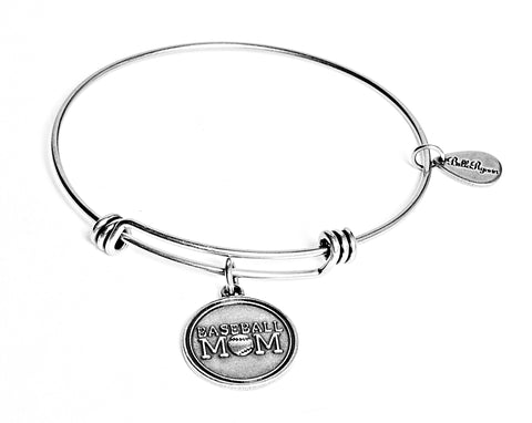 Baseball Mom Expandable Bangle Charm Bracelet in Silver - BellaRyann