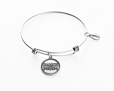 Dance Mom Expandable Bangle Charm Bracelet in Silver - BellaRyann