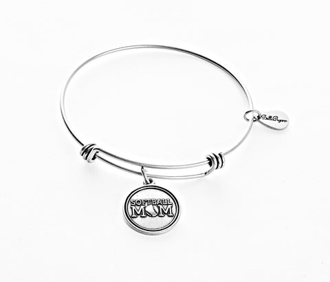 Softball Mom Expandable Bangle Charm Bracelet in Silver