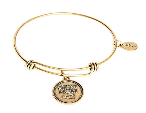 Cheer Mom Expandable Bangle Charm Bracelet in Gold - BellaRyann