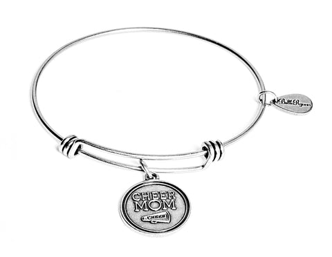 Cheer Mom Expandable Bangle Charm Bracelet in Silver - BellaRyann