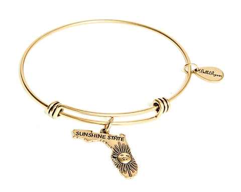 Florida Expandable Bangle Charm Bracelet in Gold - BellaRyann