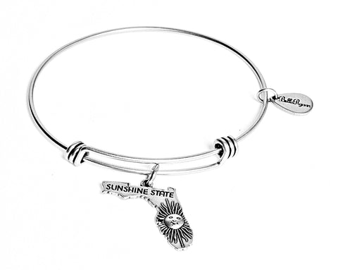 Florida Expandable Bangle Charm Bracelet in Silver - BellaRyann