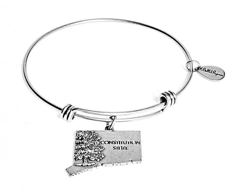 Connecticut Expandable Bangle Charm Bracelet in Silver - BellaRyann