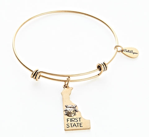Delaware Expandable Bangle Charm Bracelet in Gold - BellaRyann