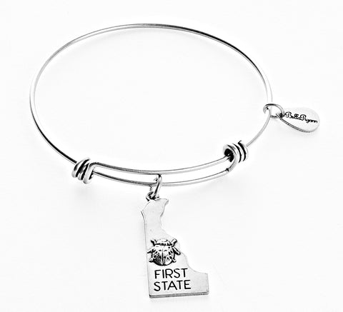 Delaware Expandable Bangle Charm Bracelet in Silver - BellaRyann