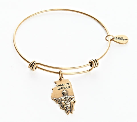 Illinois Expandable Bangle Charm Bracelet in Gold - BellaRyann