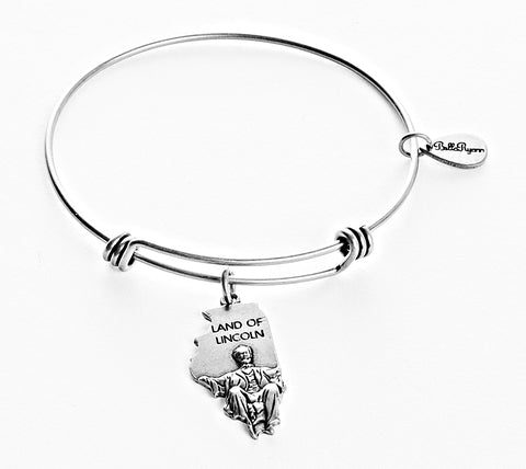 Illinois Expandable Bangle Charm Bracelet in Silver - BellaRyann