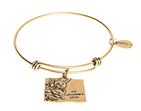 Colorado Expandable Bangle Charm Bracelet in Gold - BellaRyann