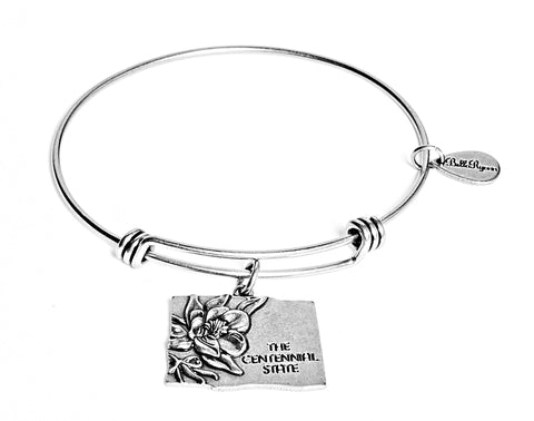 Colorado Expandable Bangle Charm Bracelet in Silver - BellaRyann