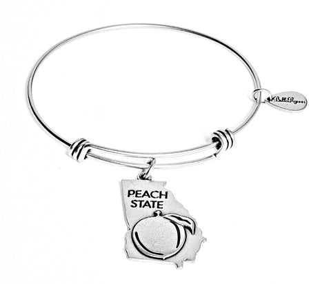 Georgia Expandable Bangle Charm Bracelet in Silver - BellaRyann