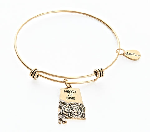 Alabama Expandable Bangle Charm Bracelet in Gold - BellaRyann