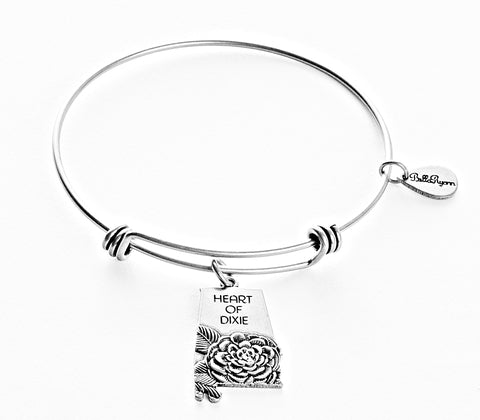 Alabama Expandable Bangle Charm Bracelet in Silver - BellaRyann