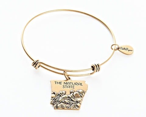 Arkansas Expandable Bangle Charm Bracelet in Gold - BellaRyann