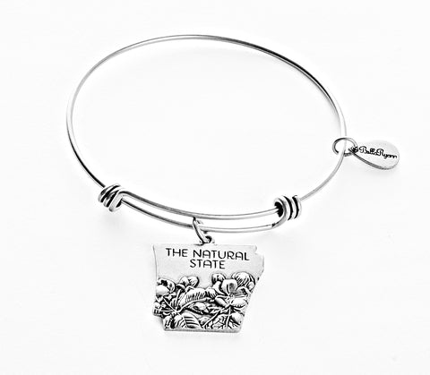 Arkansas Expandable Bangle Charm Bracelet in Silver - BellaRyann