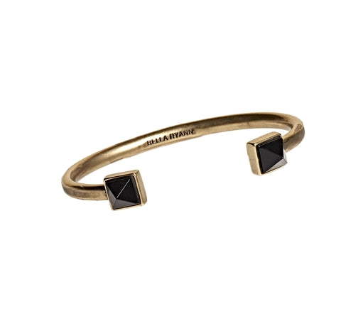 Black Agate Cuff Bracelet in Gold - BellaRyann
