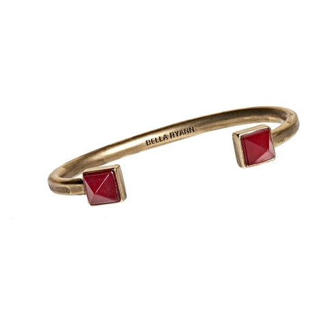 Dyed Red Jade Cuff Bracelet in Gold - BellaRyann