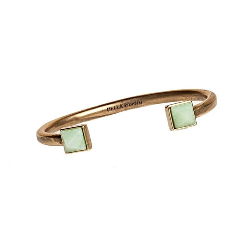 Dyed Light Green Jade Cuff Bracelet in Gold - BellaRyann