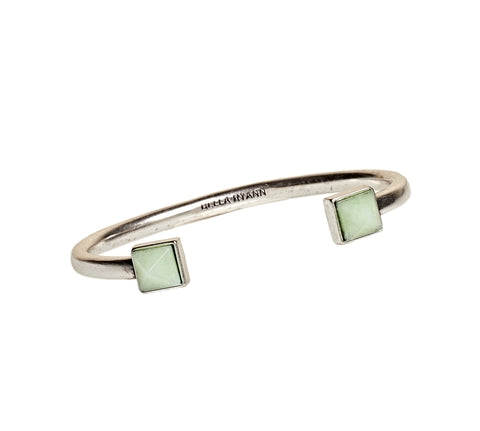 Dyed Light Green Jade Cuff Bracelet in Silver - BellaRyann